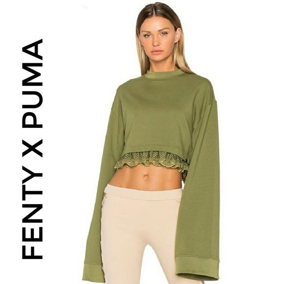 39c4c1637b6 Puma Tops   Sale Fenty Olive Branch Cropped Sweater   Poshmark